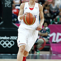 07 August 2012: France Celine Dumerc brings the ball upcourt during 71-68 Team France victory over Team Czech Republic, during the women's basketball quarter-finals, at the Basketball Arena, in London, Great Britain.