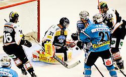24.09.2010, Eisstadion Liebenau, Graz, AUT, EBEL, Moser Medical Graz 99ers vs EHC Liwest Blackwings Linz, im Bild Fabian Weinhandl, (Graz 99ers, Torhüter, #31), Florian Iberer, (Graz 99ers, Verteidiger, #23), Patrick Harand, (Graz 99ers, Stürmer, #16), Philipp Lukas, (EHC Liwest Black Wings Linz, Stürmer, #21), EXPA Pictures © 2010, PhotoCredit: EXPA/ S. Zangrando