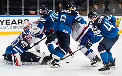 Joonas Korpisalo of Finland and Ville Lajunen of Finland vs Patrick Thoresen of Norway during the 2017 IIHF Men's World Championship group B Ice hockey match between National Teams of Norway and Finland, on May 13, 2017 in AccorHotels Arena in Paris, France. Photo by Vid Ponikvar / Sportida