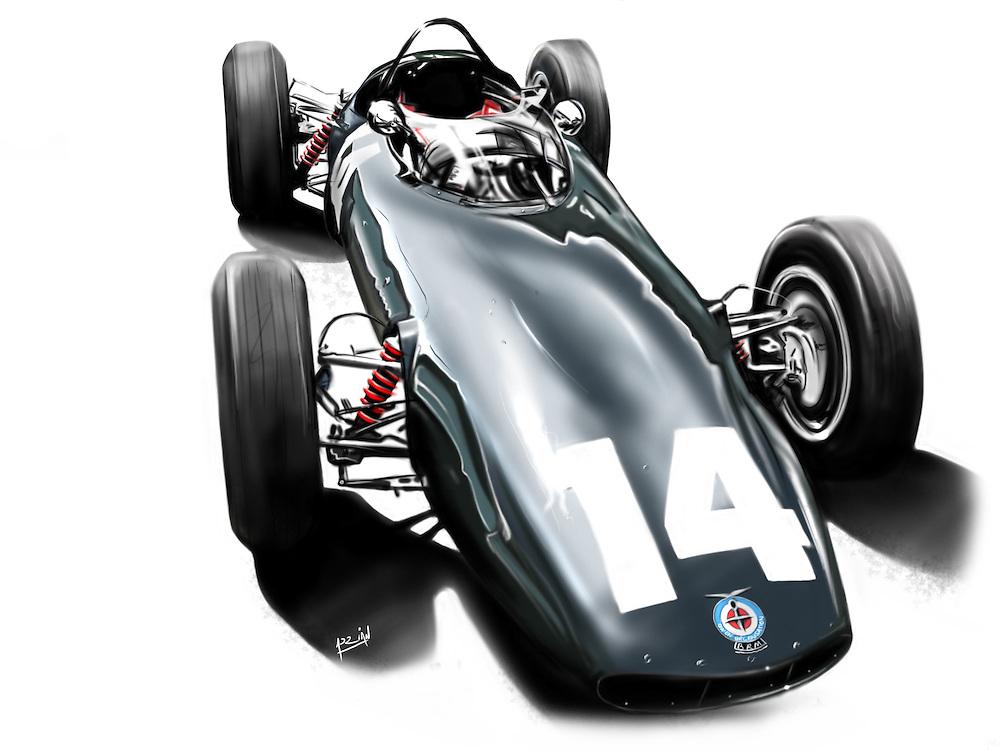 Freehand digital car drawing of 1962 BRM F1 P-578 Graham Hill world championship winning racing car on adobe photoshop using a wacom tablet by Adrian Dewey