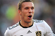 Lukas Podolski celebrates after scoring the second goal for Germany during the 2010 World Cup Soccer match between England and Germany in a group 16 match played at the Freestate Stadium in Bloemfontein South Africa on 27 June 2010.