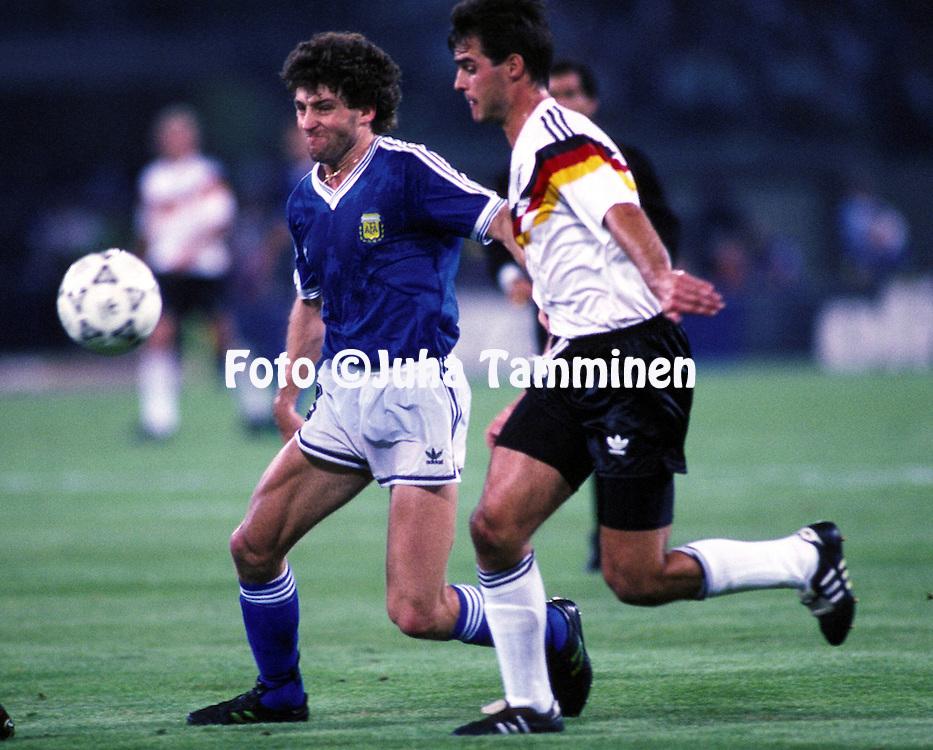 08.07.1990, Stadio Olimpico, Roma, Italy..FIFA World Cup Final, Germany v Argentina. .Gustavo Dezotti (ARG) v Thomas Berthold (GER)..©JUHA TAMMINEN