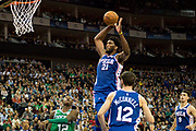 Philadelphia 76ers Joel Embiid (21) shoots during the NBA London Game match between Philadelphia 76ers and Boston Celtics at the O2 Arena, London, United Kingdom on 11 January 2018. Photo by Martin Cole.