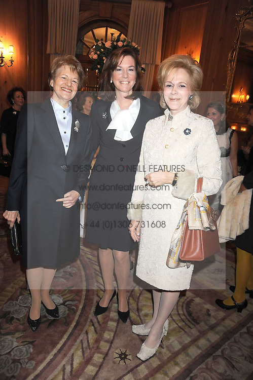 Left to right, BARONESS NICHOLSON OF WINTERBOURNE, PATRICE DAGHISTANI and GUILDA NAVIDI-WALKER at a fashion show and lunch in aid of  AMAR International Charitable Foundation held at The Dorchester, Park Lane, London W1 on 9th October 2008.
