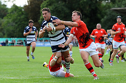 Bristol Rugby Inside Centre Ben Mosses is tackled - Mandatory byline: Dougie Allward/JMP - 07966 386802 - 13/09/2015 - RUGBY UNION - Old Deer Park - Richmond, London, England - London Welsh v Bristol Rugby - Greene King IPA Championship.
