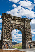 Roosevelt Arch at the north entrance to Yellowstone National Park in Gardiner, Montana.