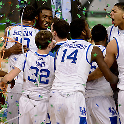 Apr 2, 2012; New Orleans, LA, USA; Kentucky Wildcats forward Anthony Davis (23) celebrates with with teammates after defeating the Kansas Jayhawks 67-59 in the finals of the 2012 NCAA men's basketball Final Four at the Mercedes-Benz Superdome. Mandatory Credit: Derick E. Hingle-US PRESSWIRE