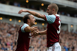 West Ham United's Mark Noble and West Ham United's Mladen Petric celebrate scoring a goal - Photo mandatory by-line: Mitch Gunn/JMP - Tel: Mobile: 07966 386802 21/09/2013 - SPORT - FOOTBALL - Boleyn Ground - London - West Ham United V Everton - Barclays Premier League
