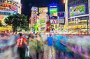 Shibuya Crossing, Shibuya, Tokyo, Japan.  Shibuya Crossing is the world's busiest, and most crowded pedestrian crossing,