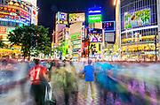 Shibuya Crossing, Shibuya, Tokyo, Japan.  Shibuya Crossing is the world's busiest, and most crowded pedestrian crossing,