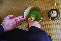 Japon, île de Honshu, région de Kansaï, Kyoto, cérémonie du thé avec Mr Amae Dairik, thé Matcha // Japan, Honshu island, Kansai region, Kyoto, tea ceremony with Mr Amae Dairik, matcha tea