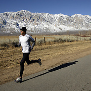 BISHOP, CA, January 19, 2008: Ryan Hall trains for the Olympics at the base of the Eastern Sierra mountains outside the town of Bishop, California about 30 miles from Mammoth Lakes. The high altitude and clean air provide a picturesque and challenging training ground for the Olympic hopeful.