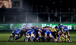 Steam rises from the scrum between Newport Gwent Dragons and Worcester Warriors - Mandatory by-line: Robbie Stephenson/JMP - 16/12/2016 - RUGBY - Rodney Parade - Newport, Wales - Newport Gwent Dragons v Worcester Warriors - European Rugby Challenge Cup