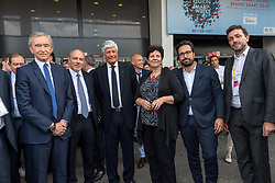 June 15, 2017 - Paris, France - (From L) LVMH Group CEO Bernard Arnault, chairman and CEO of Orange Stephane Richard, Publicis Group Directory Board Chairman Maurice Levy, French Minister of Higher Education, Research and Innovation Frederique Vidal and French Minister of State for the Digital Sector Mounir Mahjoubi pose as they arrive at the Viva technology event dedicated to start-ups development, innovation and digital technology in Paris on June 15, 2017. (Credit Image: © Julien Mattia/NurPhoto via ZUMA Press)
