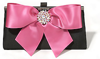 Black Bree Clutch with Pink Jeweled Bow