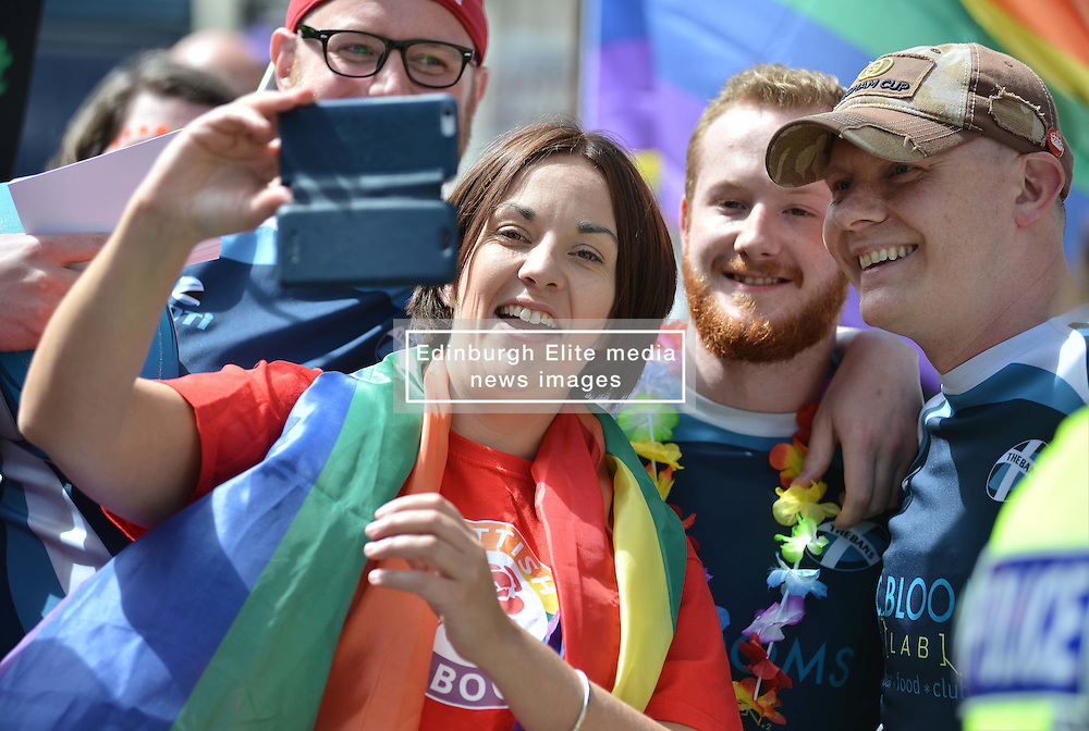 Scottish Labour leader Kezia Dugdale prepares to lead off  marchers before the annual Pride Scotia march in Edinburgh.<br /> <br /> &copy; Dave Johnston/ EEm