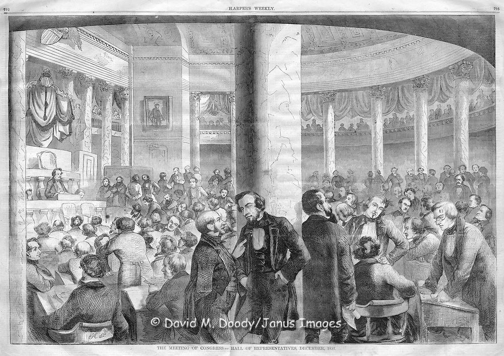 The U.S. House of Representatives (Congress) Washington DC in 1857. From Harper's Weekly, 1857