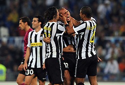 David Trezeguet celebrates scoring for Juventus during the Serie A match between Lazio and Juventus on 12th September 2009.