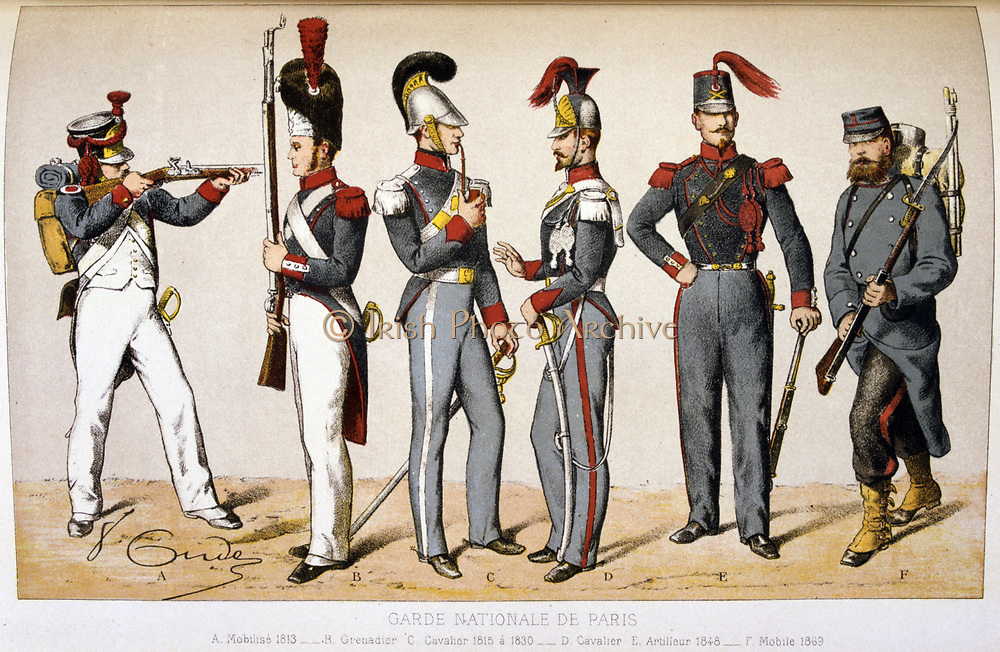 Memberes of the Parisian National Guard. 1869.  'From Histoire des corps de troupes de la ville de Paris' by Francois Cudet, Paris, 1897. Chromolithograph.