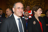 Vatican City dec 19th2015, New Ferrovie dello Stato Italiane (Italian Railways Company) top management, during the pope audience to railway employers and workers. In the picture CEO Renato Mazzoncini and President Gioia Ghezzi