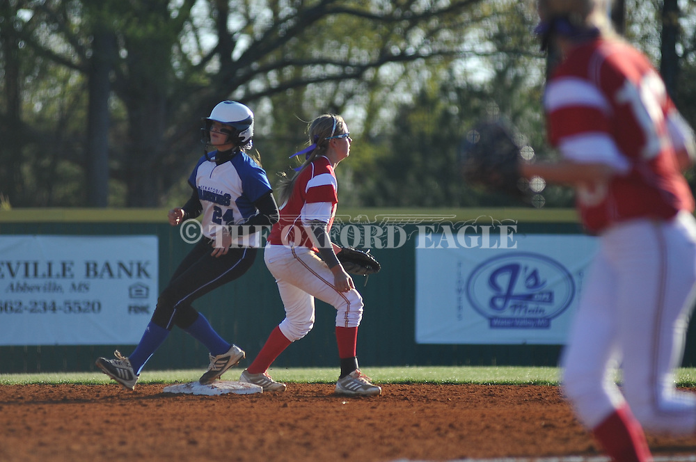 Senatobia's Chelsea Davis (24) is safe at second as Lafayette High shortstop Emily Robinson (6) covers the base, in Oxford, Miss. on Tuesday, April 15, 2014.