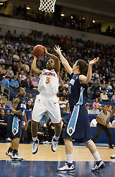 Virginia guard Paulisha Kellum (3) shoots a jump shot past Old Dominion forward/center Megan Pym (44).  The #11 ranked / #5 seed Old Dominion Lady Monarchs defeated the #24 ranked / #4 seed Virginia Cavaliers 88-85 in overtime in the second round of the 2008 NCAA Women's Basketball Championship at the Ted Constant Convocation Center in Norfolk, VA on March 25, 2008.