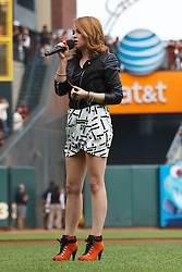 SAN FRANCISCO, CA - SEPTEMBER 23: Recording artist Lily Elise sings the national anthem before the game between the San Francisco Giants and the San Diego Padres at AT&T Park on September 23, 2012 in San Francisco, California. The San Diego Padres defeated the San Francisco Giants 6-4. (Photo by Jason O. Watson/Getty Images) *** Local Caption *** Lily Elise