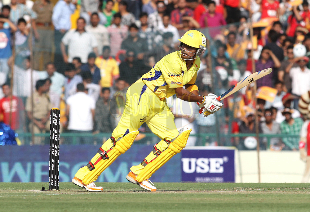 Subramaniam Badrinath of the Chennai Super Kings sets off for a run during match 9 of the Indian Premier League ( IPL ) Season 4 between the Kings XI Punjab and the Chennai Super Kings held at the PCA stadium in Mohali, Chandigarh, India on the 13th April 2011..Photo by Shaun Roy/BCCI/SPORTZPICS
