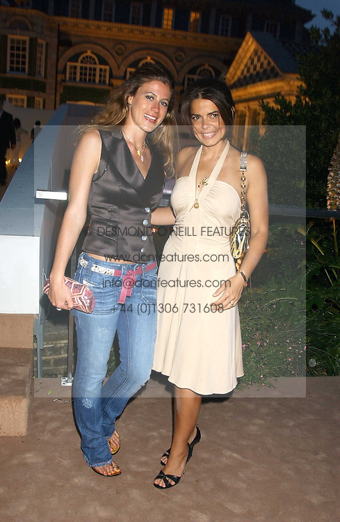 Left to right, FRANCESCA VERSACE and DANIELLA HELAYEL at a summer party hosted by champagne house Krug held at Debbenham House, 8 Addison Road, London on 28th June 2005.<br /><br />NON EXCLUSIVE - WORLD RIGHTS
