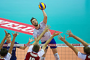 (C) Julien Lyneel from France in action during the 2013 CEV VELUX Volleyball European Championship match between Poland and France at Ergo Arena in Gdansk on September 21, 2013.<br /> <br /> Poland, Gdansk, September 21, 2013<br /> <br /> Picture also available in RAW (NEF) or TIFF format on special request.<br /> <br /> For editorial use only. Any commercial or promotional use requires permission.<br /> <br /> Mandatory credit:<br /> Photo by &copy; Adam Nurkiewicz / Mediasport