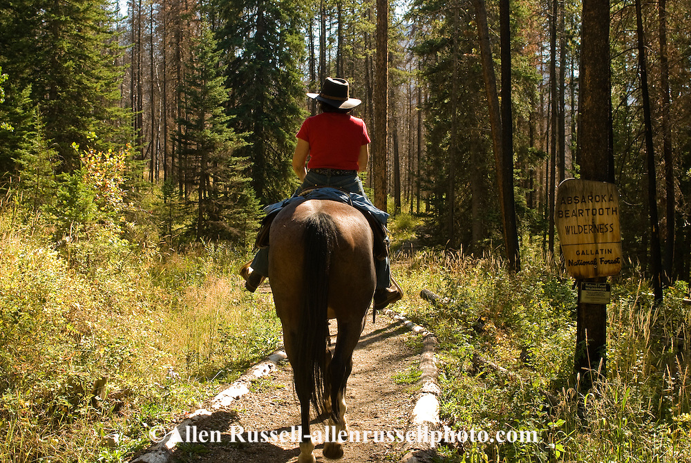 Trail Rider enters Absaroka Beartooth Wilderness Area in West Boulder Valley, Montana, <br /> MODEL RELEASED, <br /> PROPERTY RELEASED