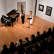 June 1, 2011 - New York, NY : From left to right, Frederic Chiu sits at piano as Angela and Jennifer Chun perform on violin during 'Ballad and Dance' at the Tenri Cultural Institute on Wednesday evening, June 1...Karsten Moran for The New York Times