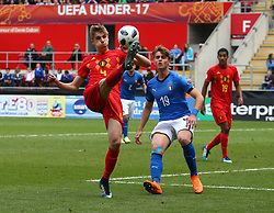 May 17, 2018 - United Kingdom - Lars Dendoncker of Belgium Under 17.during the UEFA Under-17 Championship Semi-Final match between Italy U17s against Belgium U17s at New York Stadium, Rotherham United FC, England on 17 May 2018. (Credit Image: © Kieran Galvin/NurPhoto via ZUMA Press)