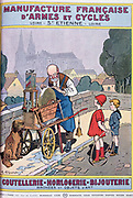 Cover of catalogue of Manufrance (Manufacture Francaise d'Armes et Cycles) Saint Etienne, c1920. Small boy and girl with a hoop watching old itinerant knife grinder  with cart sharpening a blade.