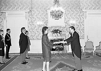 President of Ireland Mary Robinson with his Excellency Mr Agustin Gutierrez Canet Ambassador of Mexico after he presented his Letter of Credence at Aras an Uachtarain, 15/12/1995 (Part of the Independent Newspapers Ireland/NLI Collection).