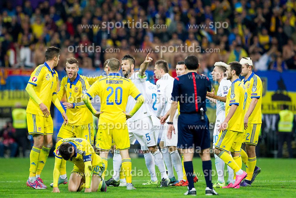 Players during the UEFA EURO 2016 Play-off for Final Tournament, Second leg between Slovenia and Ukraine, on November 17, 2015 in Stadium Ljudski vrt, Maribor, Slovenia. Photo by Urban Urbanc / Sportida