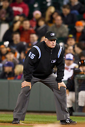 May 26, 2010; San Francisco, CA, USA;  Major League Baseball umpire Ted Barrett (65) during the seventh inning of the game between the San Francisco Giants and the Washington Nationals at AT&T Park.  Washington defeated San Francisco 7-3.