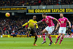 Odion Ighalo of Watford under pressure from Steve Cook of Bournemouth - Mandatory byline: Jason Brown/JMP - 27/02//2016 - FOOTBALL - Vicarage Road - Watford, England - Watford v Bournemouth - Barclays Premier League