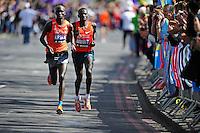 Wilson Kipsane and Stanley Biwott<br /> The Virgin Money London Marathon 2014<br /> 13 April 2014<br /> Photo: Javier Garcia/Virgin Money London Marathon<br /> media@london-marathon.co.uk