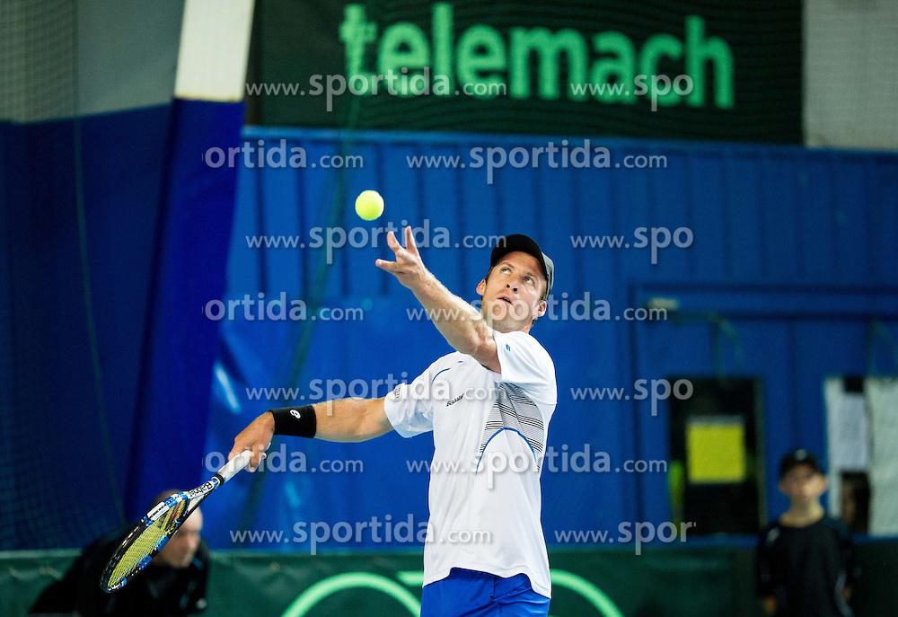 Grega Zemlja of Slovenia in action during Davis Cup Slovenia vs Lithuania competition, on October 30, 2015 in Kranj, Slovenia. Photo by Vid Ponikvar / Sportida
