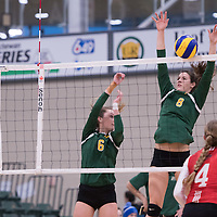 3rd year middle Kathleen Bruce (8) of the Regina Cougars in action during Women's Volleyball home game on January 21 at Centre for Kinesiology, Health and Sport. Credit: Arthur Ward/Arthur Images