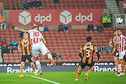 Stoke City forward Marko Arnautovic  takes a shot on goal during the EFL Cup match between Stoke City and Hull City at the Britannia Stadium, Stoke-on-Trent, England on 21 September 2016. Photo by John Marfleet.