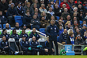 Brighton Manager, Chris Hughton during the Sky Bet Championship match between Brighton and Hove Albion and Fulham at the American Express Community Stadium, Brighton and Hove, England on 15 April 2016. Photo by Phil Duncan.