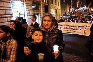 Roma 27 Gennaio 2010.Giornata della Memoria.Fiaccolata in ricordo perenne degli Stermini dimenticati dei Rom/Sinti, degli omosessuali, dei disabili. Da Piazza dell'Esquilino, fino alla Lapide sul Porrajmos e la Shoah, in Via degli Zingari 54..Rome, January 27, 2010.Memorial Day.Candlelight vigil in memory perennial forgotten extermination of the Roma / Sinti, homosexuals, disabled. Piazza Esquilino, to the plaque on Porrajmos and the Holocaust, in Via degli Zingari 54