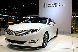 12 February 2015: 2015 LINCOLN MKZ HYBRID: Marking a key milestone in Lincoln's reinvention is the dramatic 2015 Lincoln MKZ Hybrid cost no more than the normal gasoline-powered MKZ. The midsize luxury sedan wears a sweeping roofline, steeply raked windshield, classic split-wing grille (first used on 1938 Lincoln-Zephyr), crafted LED headlights in sync with the steering wheel, and thin, full-width LED taillight graphic. The Lincoln MKZ Hybrid is front-wheel drive and equipped with the 141-horsepower 2.0L four-cylinder engine combined with an electric motor for a total rating of 188-hp. The entire setup is linked with a continuously variable transmission (CVT). Next-generation lithium-ion batteries save weight and generate more power than the previous nickel-metal-hydride batteries. The 70-kilowatt electric traction motor alone can power the car up to 85 mph. The EPA-estimated fuel economy rating is 41 mpg city, 39 mpg highway, and 40 mpg combined. Innovation and technology abound inside all '15 MKZ Hybrid, starting with MyLincoln Touch driver connect technology, push-button shift, remote start and a retractable panoramic roof that utilizes a 15.2-square-foot glass panel. The new MKZ is the only sedan in its class to offer inflatable second-row outboard seat belts, and the available THX II car audio system is a Lincoln-exclusive that contains 700 watts, 14 channels and 14 speakers. New exterior colors added to the 2015 paint palette include Luxe, Magnetic, Bronze Fire and Guard. Finally, the well-tailored truck provides an ample 15.4 cu. ft. of luggage room.<br /> <br /> First staged in 1901, the Chicago Auto Show is the largest auto show in North America and has been held more times than any other auto exposition on the continent. The 2015 show marks the 107th edition of the Chicago Auto Show. It has been  presented by the Chicago Automobile Trade Association (CATA) since 1935.  It is held at McCormick Place, Chicago Illinois