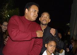 Dec 2, 2001; Los Angeles, CA, USA; Boxer MUHAMMAD ALI & Actor WILL SMITH and Smith's son TREY @ the LA premiere of 'Ali.'.  (Credit Image: Robert Millard/ZUMAPRESS.com)