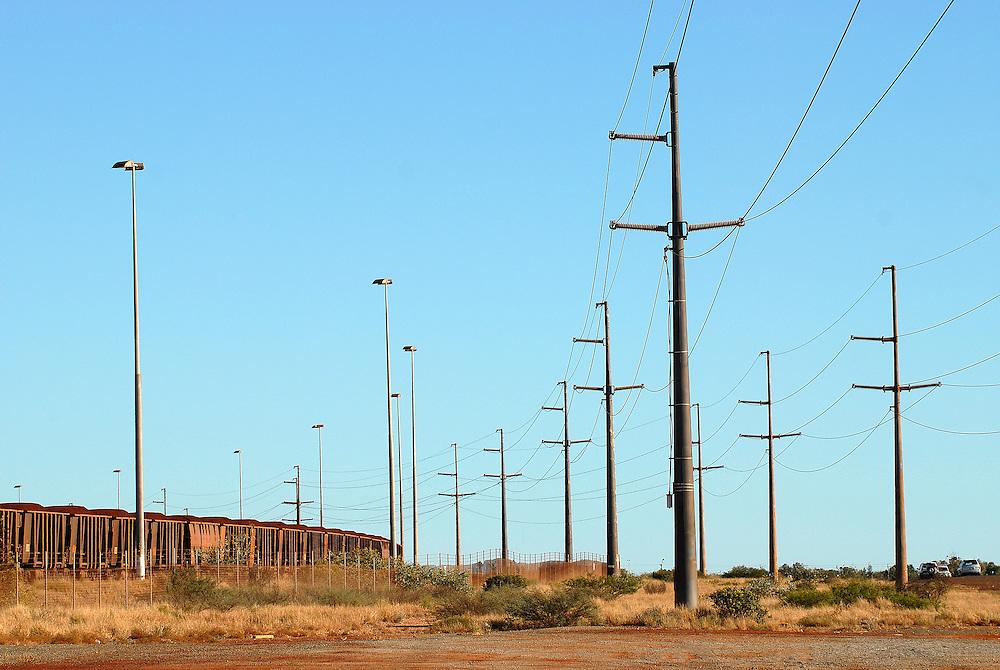Iron Ore trains, just outside Port Headland. The Pilbara, Western Australia 27 June 2006