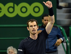 DOHA, Jan. 7, 2017  Andy Murray of Britain celebrates after the men's singles semifinal with Tomas Berdych of the Czech Republic at the ATP Qatar Open tennis tournament in the Khalifa International Tennis Complex in Doha, capital of Qatar, on Jan. 6, 2017. Andy Murray won 2-0. wll) (Credit Image: © Nikku/Xinhua via ZUMA Wire)