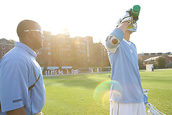 22 March 2008: North Carolina Tar Heels athletic training student Geoffrey Staton and midfielder Cryder DiPietro (48) before the team played the Maryland Terrapins at Fetzer Field in Chapel Hill, NC.