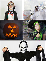 Collage of children in Halloween costumes